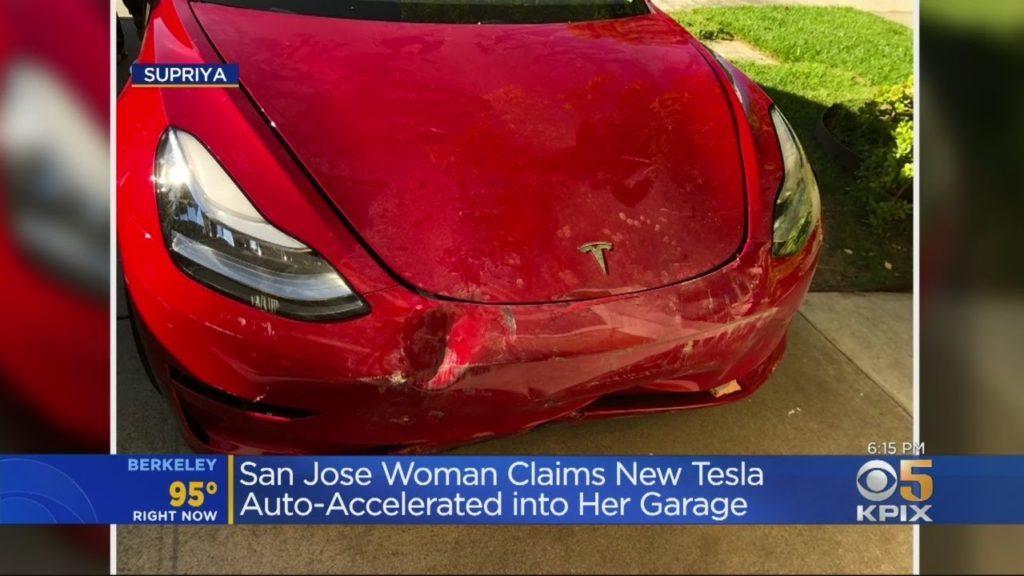 San Jose Woman Claims New Tesla Auto-Accelerated Into Garage